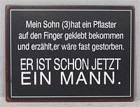 """Schild """"Mein Sohn (3) hat ein Pflaster.."""