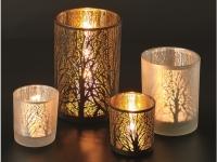 Windlicht Glas Winterwald schwarz-gold..