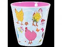 RICE Melaminbecher medium Hen Print bl..