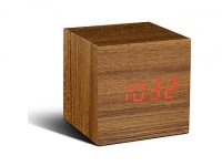 Cube Wecker/Thermometer Teak - LED rot