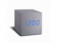Cube Wecker/Thermometer Alu - LED blau