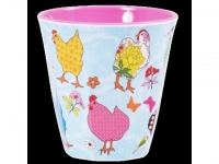 RICE Melaminbecher medium Hen Print bl..