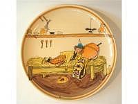 Rheinfelder Keramik Fondueteller Carigiet Ursli schläft auf Glocke