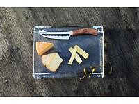 """Chäsplatte mit Messer """"panorama knife"""" 315 x 245 x 35mm"""